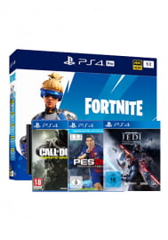 Sony PlayStation 4 Pro 1 TB Festplatte + Fortnite Paket + Star Wars Jedi: Falle Order + CoD Infinite Warfare + PES 2018