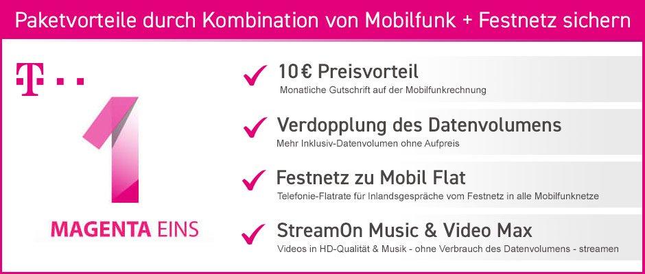 Telekom Magenta Eins Vorteile durch Kombination von Mobilfunk + Festnetz