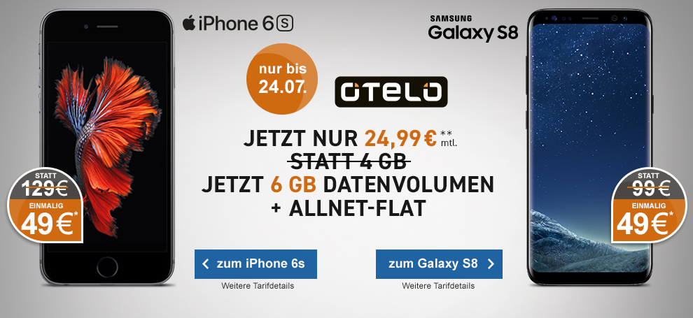 Otelo Allnet Flat Comfort mit Apple iPhone 6s oder Samsung Galaxy S8