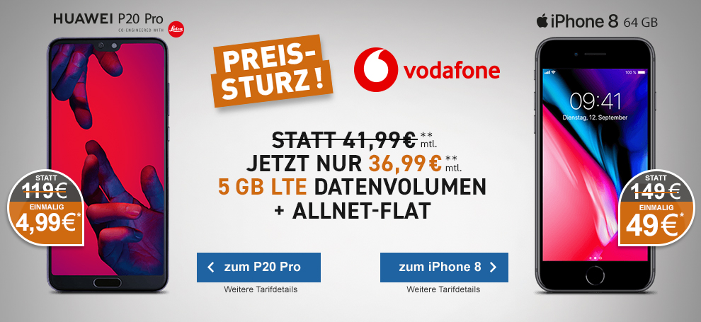 Vodafone Smart L mit Huawei P20 Pro oder Apple iPhone 8