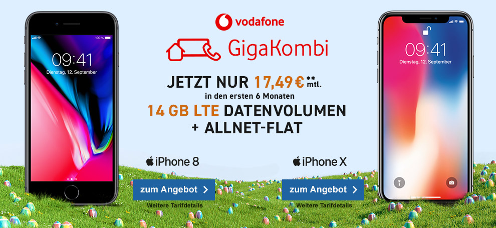Vodafone Red M Giga mit Apple iPhone 8 oder iPhone X