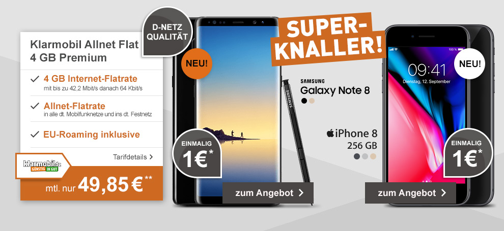 Klarmobil Allnet Flat 4GB mit Samsung Galaxy Note 8 oder Apple iPhone 8 256GB