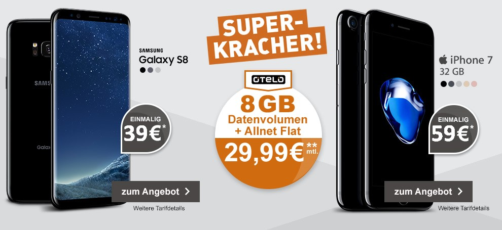 Otelo Allnet Flat XL mit Samsung Galaxy S8 oder Apple iPhone 7 32GB